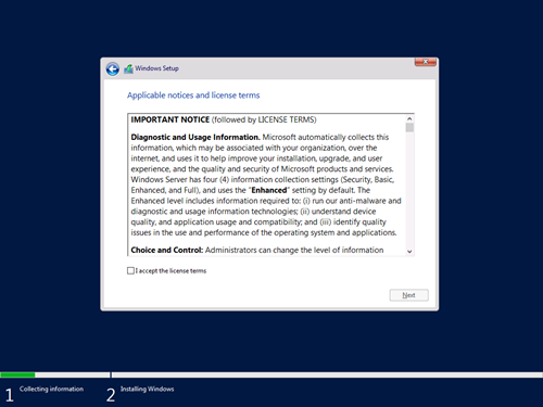 Windows Setup - Applicable notices and license terms